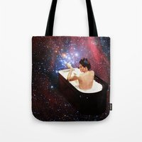 bath Tote Bags featuring Bubble Bath by Eugenia Loli