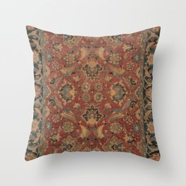 Flowery Boho Rug I // 17th Century Distressed Colorful Red Navy Blue Burlap Tan Ornate Accent Patter Throw Pillow