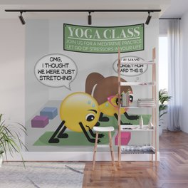 Yoga Emoji Couple Cartoon Wall Mural