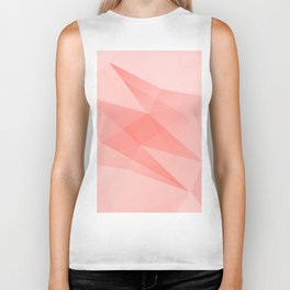 Pantone Living Coral Color of the Year 2019 on Abstract Geometric Shape Pattern Biker Tank