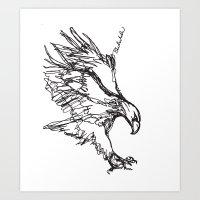 Eagle Landing (all one line) Art Print