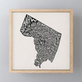 Bergen County, New Jersey Map Framed Mini Art Print