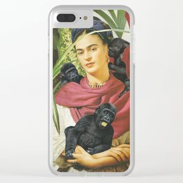 Frida Kahlo - Self portrait with monkeys recreated Clear iPhone Case