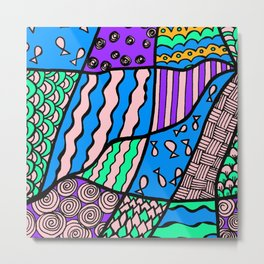 Doodle Art Drawing - Fishes and Waves - Blue Purple Metal Print