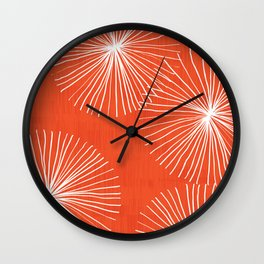 Dandelions in Red by Friztin Wall Clock
