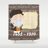 da vinci Shower Curtains featuring Leonardo da Vinci by Alapapaju
