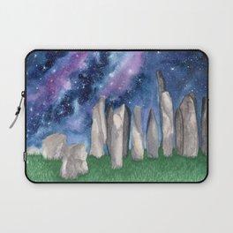 """Purple Galaxy & Callanish Stones"" watercolor landscape painting Laptop Sleeve"
