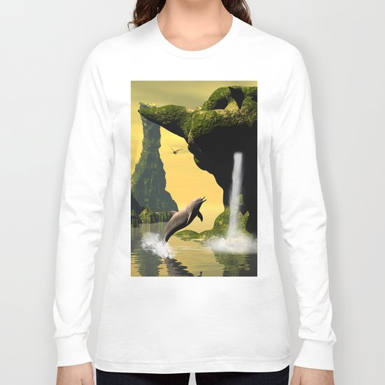 Funny jumping dolphins Long Sleeve T-shirt