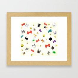 Cat Pattern Cream Framed Art Print