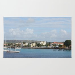 Bonaire Kralendijk Harbor Sailing Boats Rug