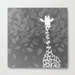 Funny Giraffe with Leaves Metal Print