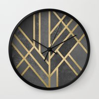 deco Wall Clocks featuring Art Deco Geometry 1 by Elisabeth Fredriksson