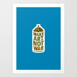 Make Art Not War (African pattern blue) Art Print