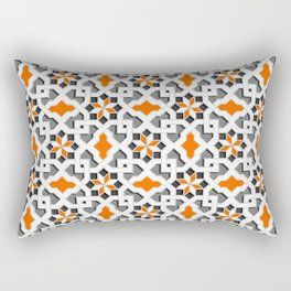 black, white, grey, orange -  Oriental design - orient  pattern - arabic style geometric mosaic Rectangular Pillow