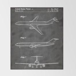 Boeing 777 Airliner Patent - 777 Airplane Art - Black Chalkboard Throw Blanket
