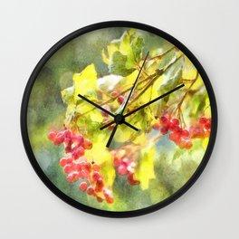 Winter Berries Watercolor Wall Clock