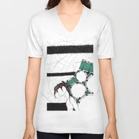 drum V-neck T-shirts featuring Drum Man by Meagan Harman