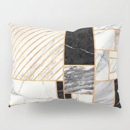 Random Pattern - Black and White Marble Pillow Sham