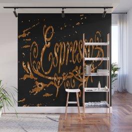Espresso Coffee Artistic Typography Wall Mural