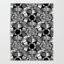 Shiny metallic damask Poster