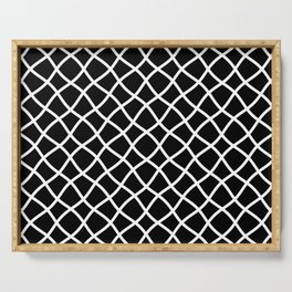 Black and white curved grid pattern Serving Tray