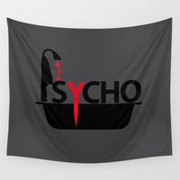 psycho Wall Tapestries featuring Psycho by Oh! My darlink