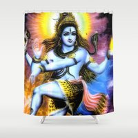 shiva Shower Curtains featuring Shiva by nuzzocozzamara