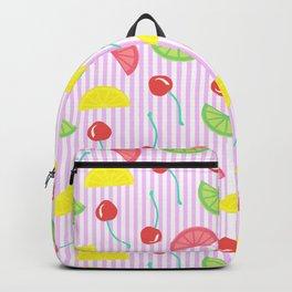 Retro Fruit Salad in Pink + White Seersucker Backpack