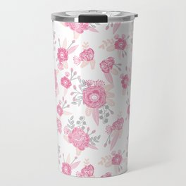 Pink pastel florals cute nursery baby girl decor floral botanical bouquet blooms Travel Mug