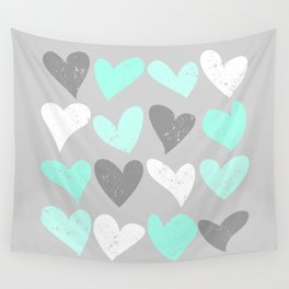 Mint white grey grunge hearts Wall Tapestry