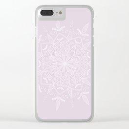 White Vector Mandala on Light Purple Clear iPhone Case