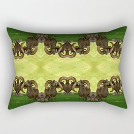 Entangled Horns - Desert Bighorn Rams Rectangular Pillow
