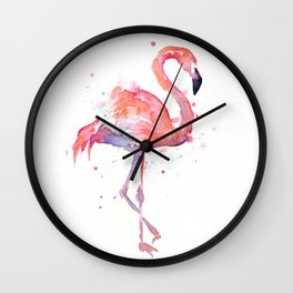 Pink Flamingo Watercolor Tropical Animals Bird Wall Clock