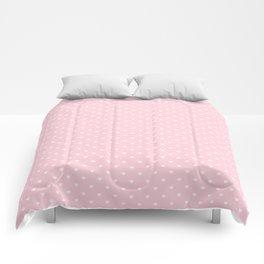 White Polka Dot Hearts on Light Soft Pastel Pink Comforters
