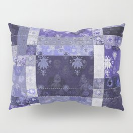 Lotus flower blue stitched patchwork - woodblock print style pattern Pillow Sham