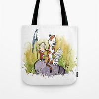 calvin and hobbes Tote Bags featuring Calvin n hobbes by TEUFEL_STRITT666