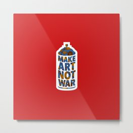 Make Art Not War (African print red) Metal Print