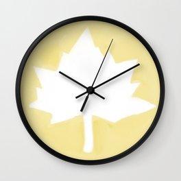 Leaf on Gold Wall Clock