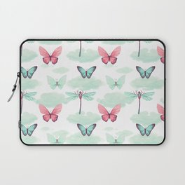 Pink teal watercolor clouds dragonfly butterfly pattern Laptop Sleeve