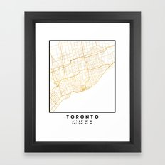 TORONTO CANADA CITY STREET MAP ART Framed Art Print