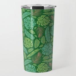 Tropical leaves mix on green background Travel Mug