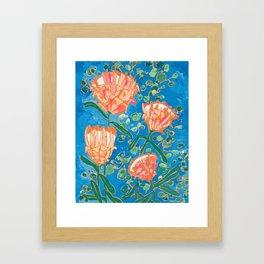 Four Orange Proteas Framed Art Print