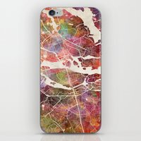 stockholm iPhone & iPod Skins featuring Stockholm by MapMapMaps.Watercolors