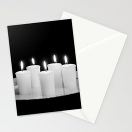 Candles On Plate-bw Stationery Cards