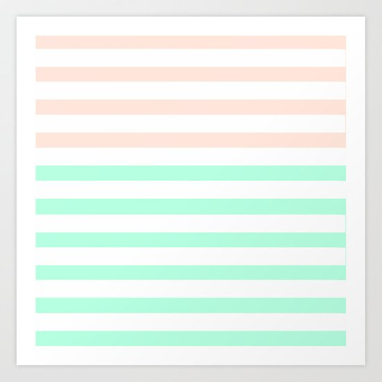 MINT & PEACH STRIPES Art Print