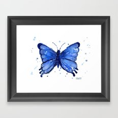 Butterfly Blue Watercolor Animal Painting Framed Art Print