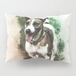 Jack Russell Terrier Digital Watercolor Painting Pillow Sham