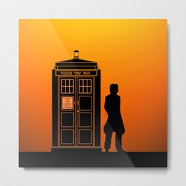 Tardis With The Eighth Doctor Metal Print