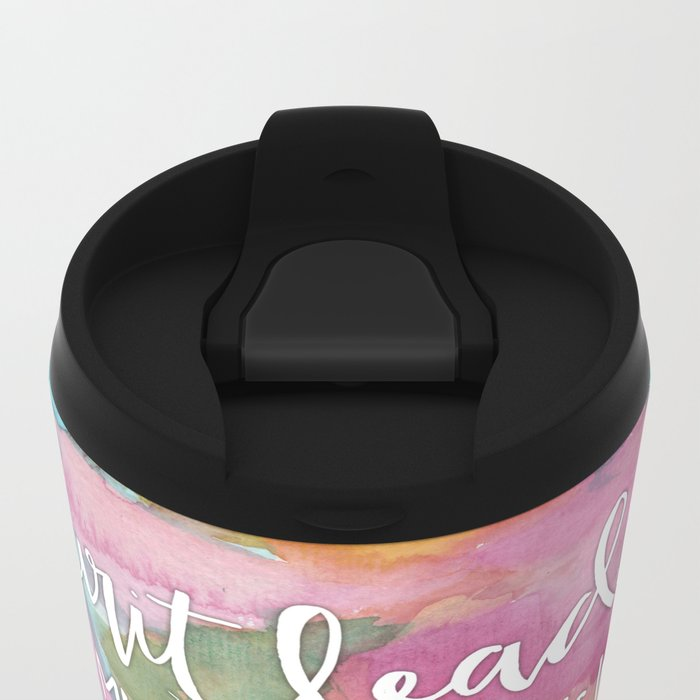 Spirit Lead Me - Inspirational Quote with pink flowers Metal Travel Mug