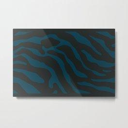Tiger Skin Pattern Prussian Blue Metal Print